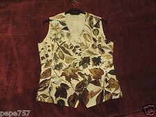 HERMES authentic WOMAN Gilet Vest 100% silk autumn leaves EU 38 Good condition