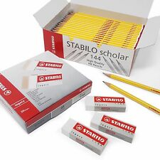 Stabilo Ultimate School Set - Box of 144 Scholar HB Pencils + 20 Legacy Erasers