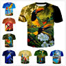Bird Tropics Macaw Parrot 3D Print Casual T-Shirt Womens Mens Short Sleeve Tops
