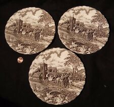 """Antique MYOTT Royal Mail Three BREAD PLATES EDWARDIAN  6 3/4"""" Staffordshire"""