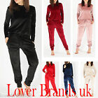 Womens Ladies Loungewear Velour Set Sweatshirt Joggers Fine Velvet Tracksuit