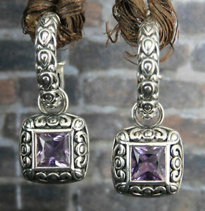 Angela by John Hardy 925 Sterling Silver Amethyst Charm Hoop Earrings