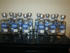 Lot of 12 Empty 1 Liter 1800 Silver Tequila Bottles, With Caps