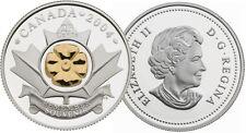 2004 Golden Poppy Quarter 25 Cents Silver Proof w/24-Karat Gold Plating