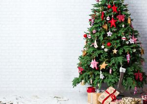 Happy New Year White Brick Wall Xmas Tree Backdrop 7x5ft Vinyl Photo Background