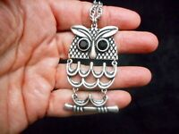 "Authentic Vintage Silver Tone Articulated Owl Necklace 36"" Long"