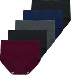 Innersy Women's 5 Pack High Waist Solid Color Tummy, Darks 1, Size X-Large D7sB