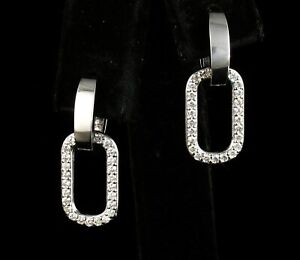 FINE NATURAL UNTREATED 3/4ctw DIAMOND SOLID 14K WHITE GOLD HUGGIE DROP EARRINGS