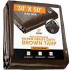 30' x 50' Super Heavy Duty 16 Mil Brown Poly Tarp Cover - Thick Waterproof