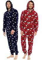 Mens Undercover Winter Fleece Cosy Christmas Xmas Bear All in One Zipped 1Onesie