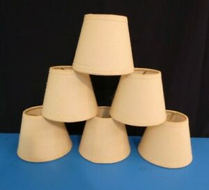 "Set of Six Vintage Mini Lamp Shades 5""x4"" Canvas Victorian Western Cowboy Ranch"