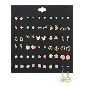STUD JEWELLERY EARRINGS WOMEN,GIRLS PACK OF 30 GOLD