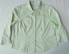 Green / White Long Sleeve Striped Button Down Shirt - 20W Womens Stretch Cotton