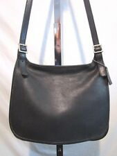 Vintage Coach 9134 Medium Sz Black Leather Crossbody Hobo Flap Saddle Handbag