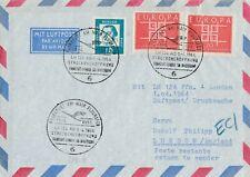 Frankfurt-London via Amsterdam 1.4.1964 Streckeneröffnung LH 124 Luftpostbrief