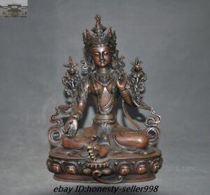 """12""""Old Tibetan Buddhism Bronze Green tara Goddess Guanyin Kwan-yin Buddha Statue"""