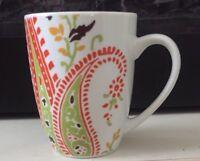 Rachel Ray Paisley/Floral Mug GIFT orange/lime grn/yellow/brown/Wht cup Coffee