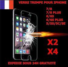 LOT VITRE FILM PROTECTION VERRE TREMPE IPHONE 8/7/6/5 PLUS 5S/SE/5C ECRAN