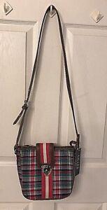 CHAPS Purse, Shoulder/Crossbody Bag - Pink Plaid w/ Long Adjustable Strap NWT