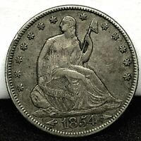 1854 Arrows Seated Liberty Half Dollar 50C Toned Coin - AU / UNC Details!