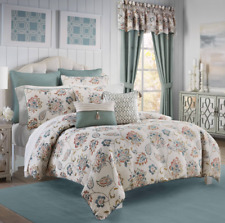 Croscill Beckett King Comforter Set Pillows Drapes 10 Pcs set Teal Gold Orange
