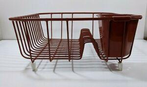 Vintage Rubbermaid Brick Red Burnt Orange Coated Wire Dish Drainer Drying Rack
