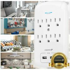 FosmonC-10685 125VAC 15A 1200J 6-Outlet Wall Tap Surge Protector with 2 USB Ports - White