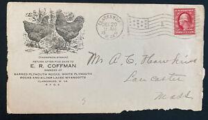 1911 Clarksburg WV USA Advertising Cover Rocks & Silver Laced Wyandotts