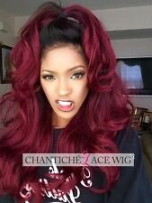 Long OMBRE BURGUNDY Wavy Curly Wig Heat Safe Women's Natural Lace Synthetic Hair