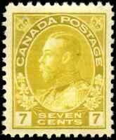 Canada #113 mint VF OG NH/DG 1916 King George V 7c yellow ochre Admiral CV$80.00