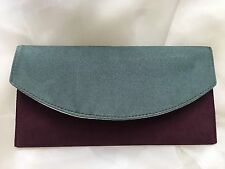 BURGUNDY AND GREEN CLUTCH BAG HAND CRAFTED FAUX SUEDE