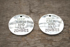 5pcs keep calm and kill zombies Charms Silver tone the walking dead penant 32mm