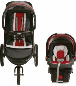 Graco Baby FastAction Click Connect Travel System w/ Infant Car Seat Chili Red