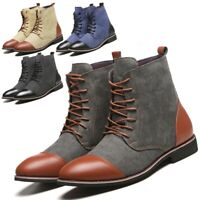 Mens Split-Leather Smart Casual Ankle Boots Chelsea Comfort Lace Up Shoes Dress