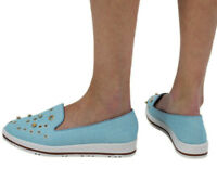 New Womens Pumps Slip On Sneakers Ladies Pearl Studs Plimsolls Shoes Blue Size 5