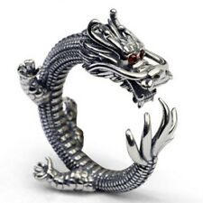 Men Super Cool Dragon Rings Rock Style Solid Sterling Silver Thumb Jewelry