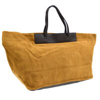 FENDI Logos Hand Tote Bag Brown Suede Leather 8BH264-L8F 139-2384 00930