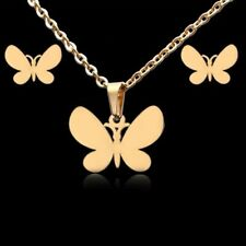 Stainless Steel Gold Butterfly Necklace Set 579