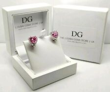 White gold finish pink tourmaline created diamond heart cut droplet earrings