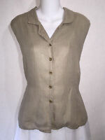 Jeanne Engelhart FLAX Beige Linen Button Shirt Tunic Top Collared Tank Medium M