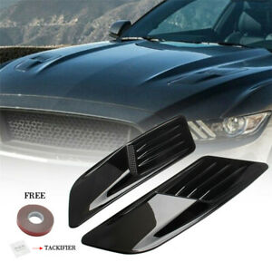 2PCS Carbon Fiber Look Car Simulation Hood Vent Decor Sporty Air Flow Sticker