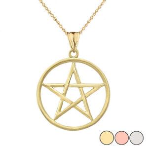 Gold 10K/14K Satin Finish Elegant  Pentagram Pendant Necklace Yellow/White/Rose