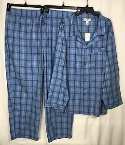 Roundtree Yorke Sleepwear Men's Pajama Set 3XL /XXXL Cotton Blue New
