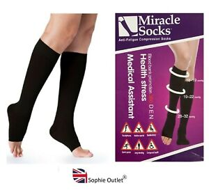 Travel MIRACLE FLIGHT SOCKS Compression Anti Swelling Fatigue DVT Support Open
