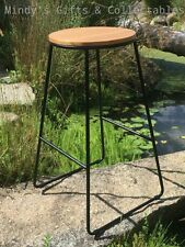 71cm Tall Industrial Bar Stool with Timber Top & Black Metal Legs Last one!