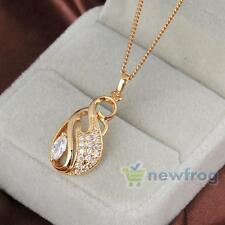Fashion 18k Gold Plated Jewelry Crystal Diamante Pendant Long Chain Necklace