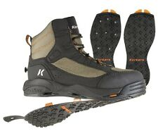 Korkers Greenback Wading boots w/ Kling-On + Studded Kling-On soles,Size 12, New