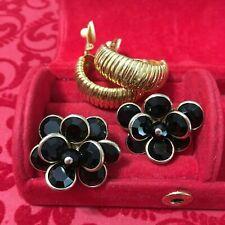 Vintage Retro Jewelry Earrings Lot of 2 Pair Black Floral & Ribbed Hoop Clip-on