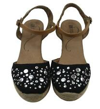 White Mountain Women Ladies Black Silver Wedge Heel Shoes Size 8.5M