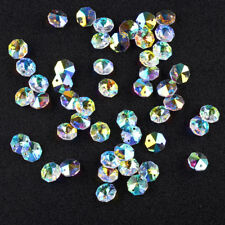 50pcs AB Chandelier Crystal Lamp Parts Octagon Faceted Beads 14mm Decor 2 Holes